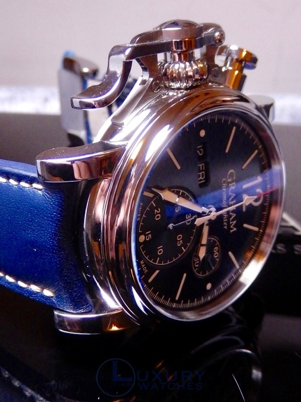 b183ec485fe6 Graham Chronofighter Vintage Day Date Blue 100% NIB Ref 2CVAS.U01A ...